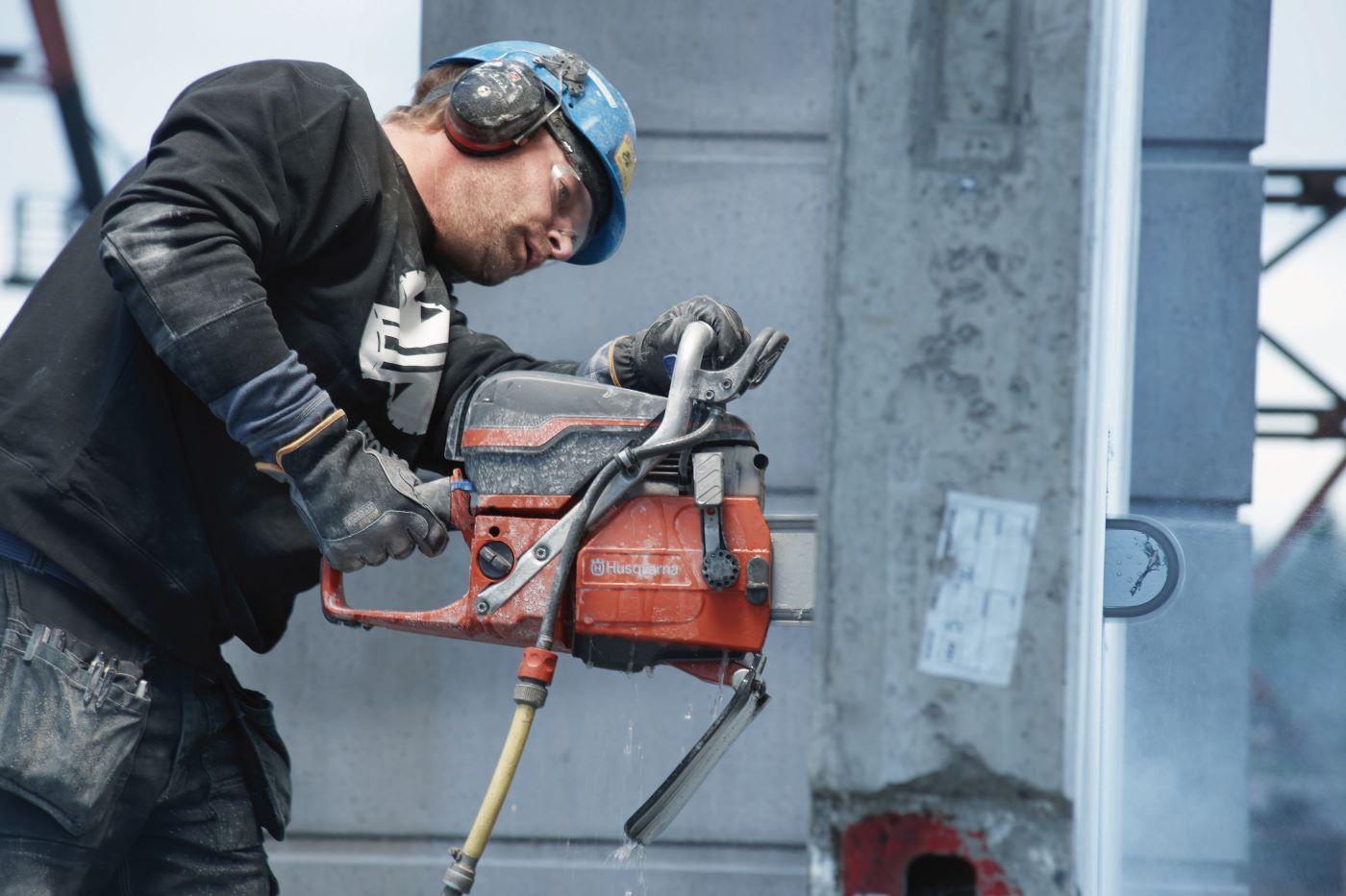 Husqvarna construction tool in use